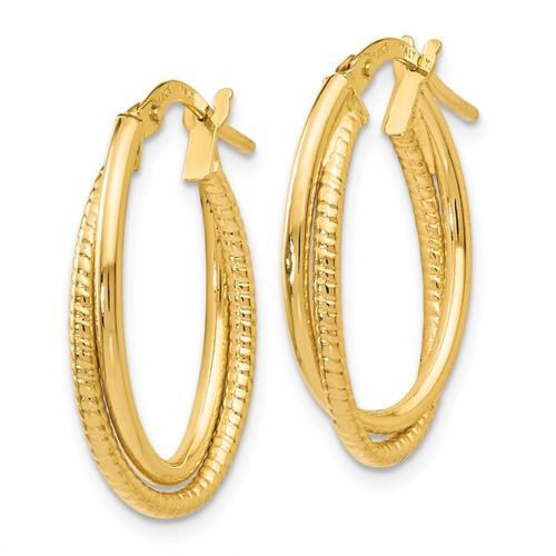 14k yellow gold double hoop textured earrings