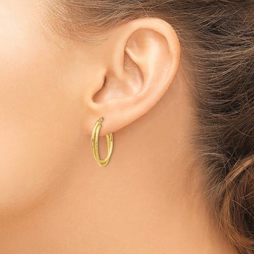 14K yellow gold double textured hoop earrings