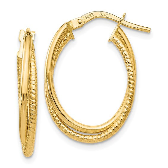 14K Gold Polished Textured Oval Hoop Earrings