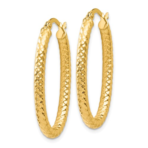 14k yellow gold oval textured hoop earrings