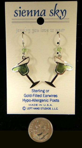 lime margarita earrings by Sienna Sky with dime for size