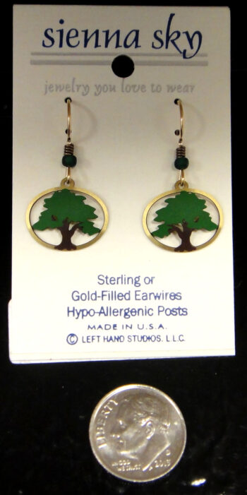 tree earrings by Sienna Sky with dime for size
