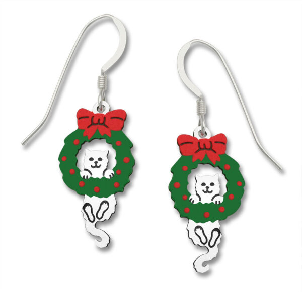 Cat in wreath Holiday earrings with sterling silver earwires