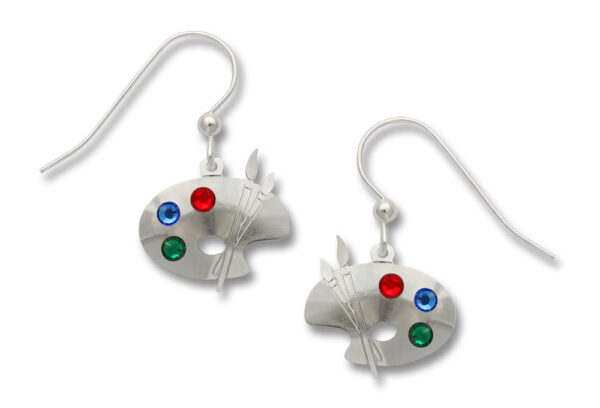 Paint Palette and paintbrush earrings