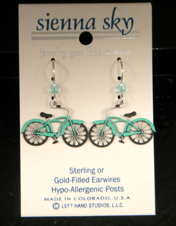 These light blue bicycle earrings are handmade by Sienna Sky.