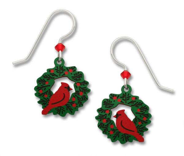 Christmas earrings- cardinal on wreath