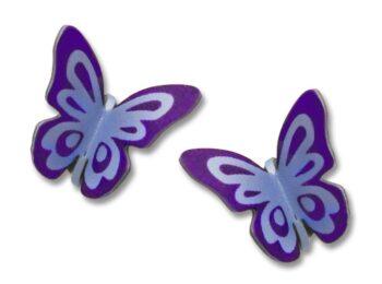 Light and dark purple folded butterfly post earrings from Sienna Sky