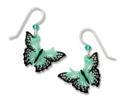 teal and black butterfly earrings