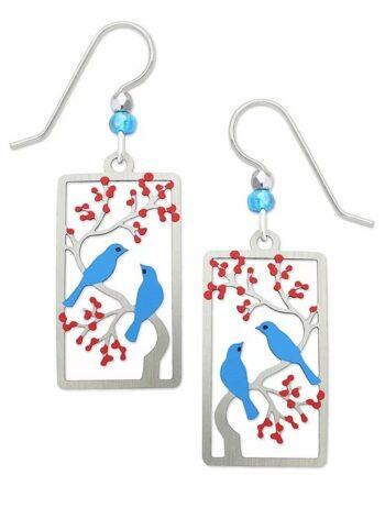 blue bird on cherry tree earrings