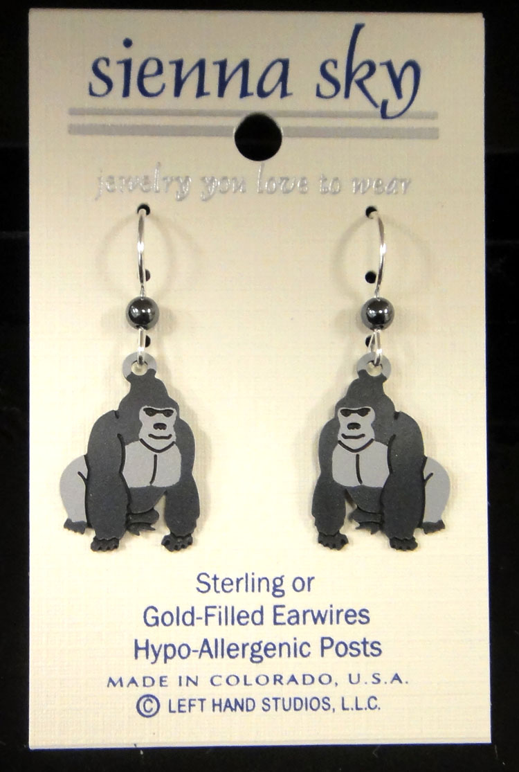 gorilla earrings by Sienna Sky