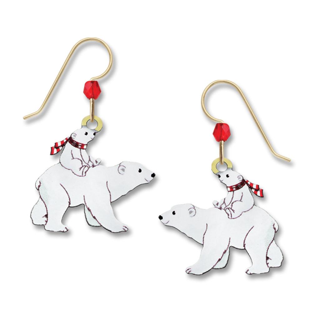 Polar Bear with cub winter earrings