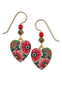 red flower heart earrings by Sienna Sky for Left Hand Studios