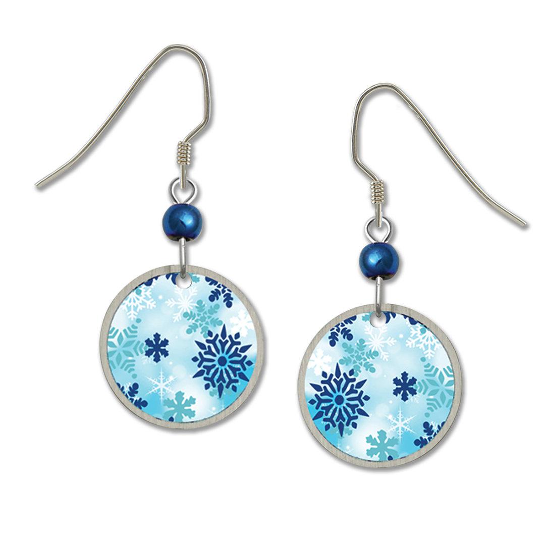 Snowflake earrings from Lemon Tree for Left Hand Studios