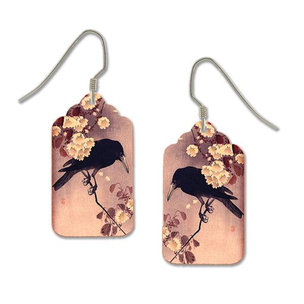 Black crow earrings