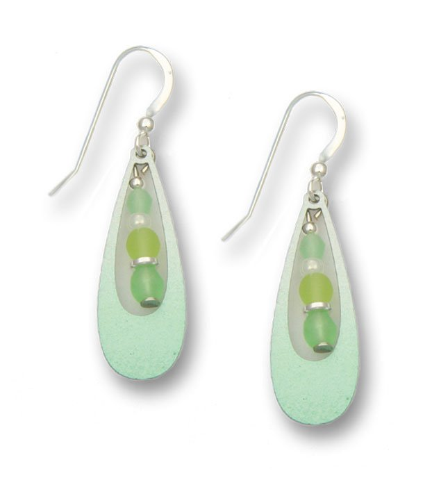 light green earrings with beaded center