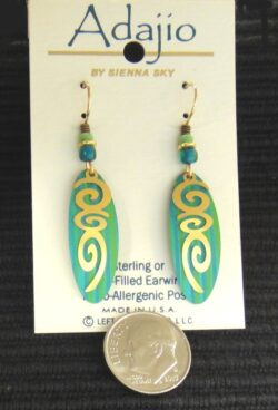 Blue green and goldtone Adajio dangle earrings