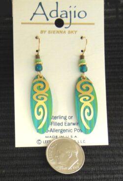 Blue green and goldtone Adajio dangle earrings