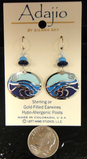 blue and silvertone waves Adajio earrings with dime