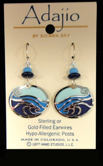 blue and silvertone waves Adajio earrings