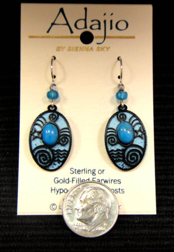 Adajio blue and black dangle earrings by Barbara Maccambridge