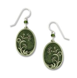 green art nouveau floral inspired earrings
