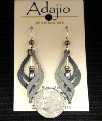 dark and light gray Adajio earrings with dime for scale