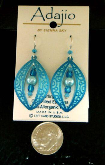 blue Adajio dangle beaded earrings with dime