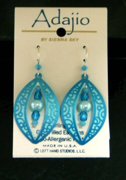 These earrings feature an abstract blue design and are handmade by Adajio.