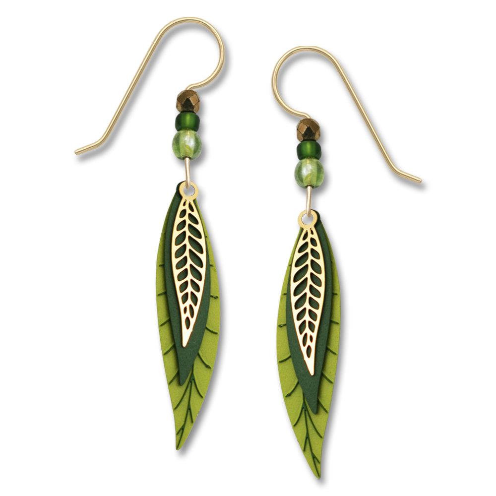 Long green leaf earrings by Adajio