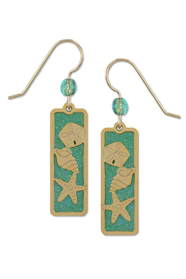 green beach themed earrings