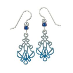 art nouveau inspired blue and gray earrings