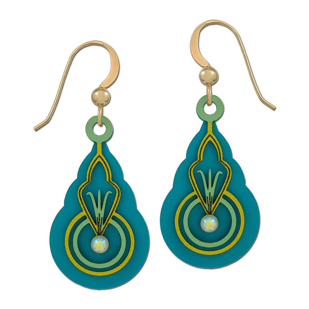 Art deco inspired teal earrings