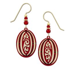 red and goldtone oval earrings by Adajio