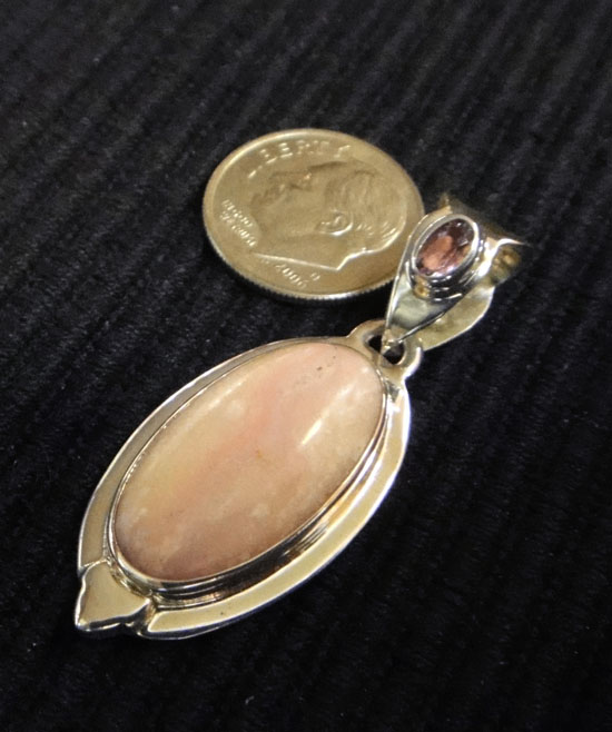 handmade purple amethyst, pink mango shell, and sterling silver drop pendant