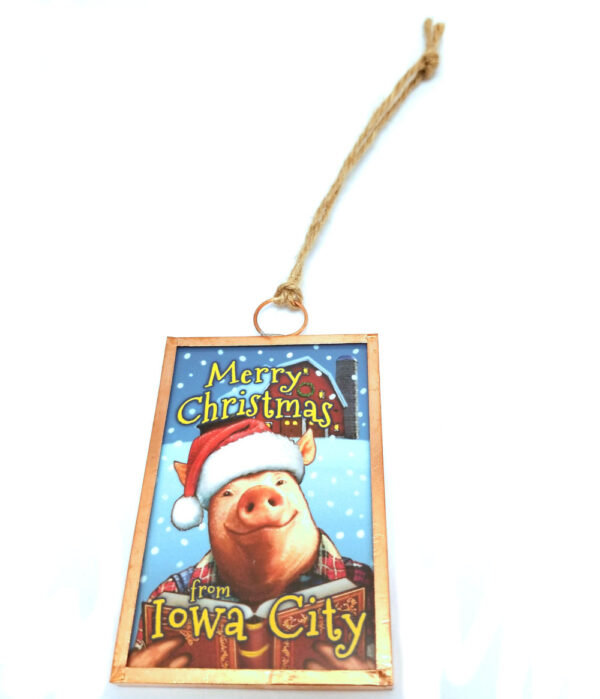 Merry Christmas from Iowa City Pig reading ornament
