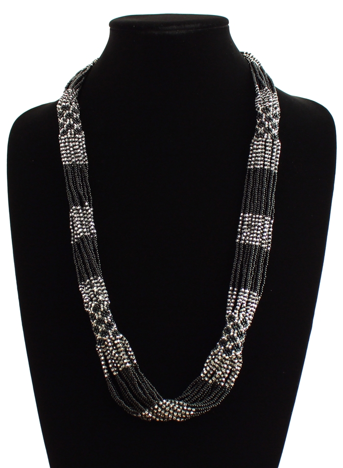 Black and silver-tone long Czech glass seed bead necklace