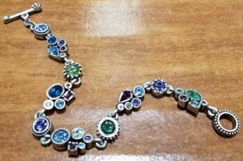 "Petite style silver tone bracelet in color palette ""Waterlily"" by Patricia Locke"