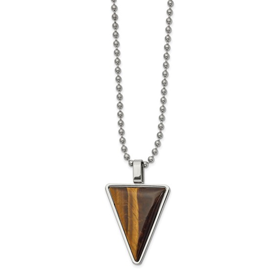 Tiger's Eye Triangle pendant on 24 inch ball chain necklace