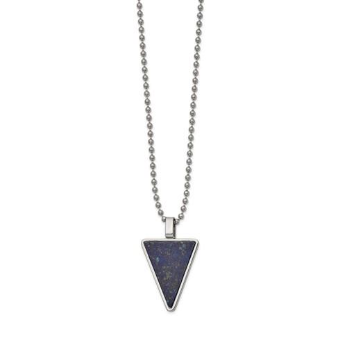Lapis lazuli triangle pendant on ball chain necklace