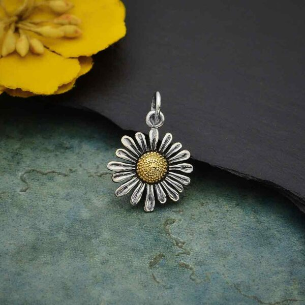 nickel-free sterling silver and bronze daisy flower charm pendant