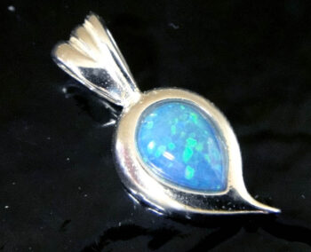 handmade lab created blue opal and sterling silver pendant