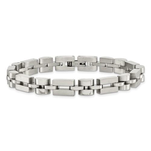 Polished and brushed finish stainless steel bracelet