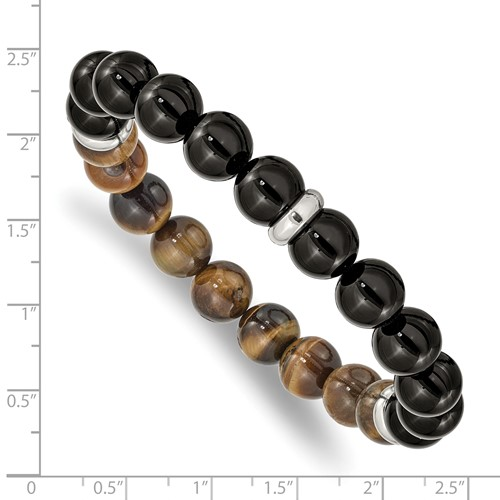 Black agate, brown Tiger's eye, and stainless steel large stretch bracelet