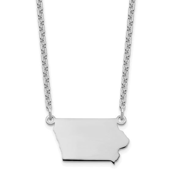 State of Iowa outline necklace in sterling silver