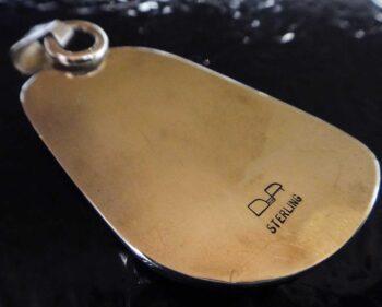 Handmade thunderegg jasper and .925 sterling silver pendant back view