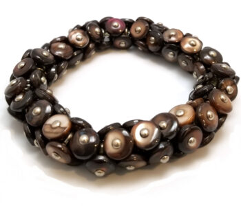Victorian era repurposed boot button bracelet with dark brown shell buttons