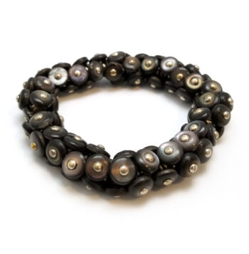 Gray Victorian era repurposed boot button bracelet