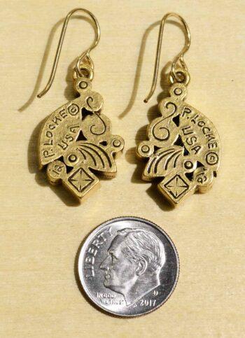 Patricia Locke Adele goldtone in All Crystal earrings back w/ dime