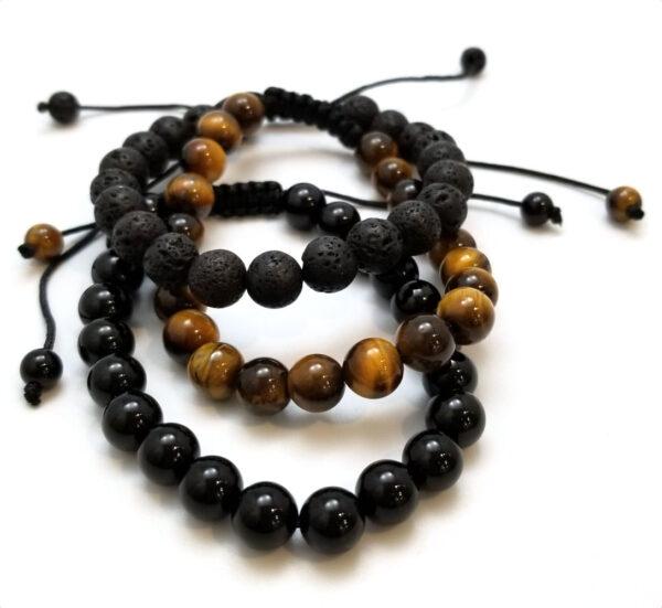 adjustable natural stone bracelet set