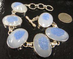 Handmade agate druzy and sterling silver bracelet